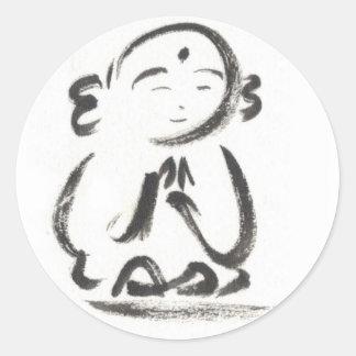 Jizo los pegatinas del monje etiqueta redonda