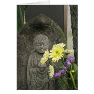 Jizo with Flowers-NY Card