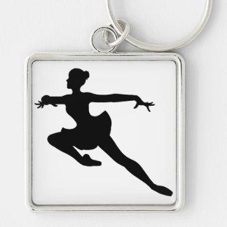 JMO Ballerina Deluxe (Ballet Dancer Silhouette) ~ Silver-Colored Square Keychain