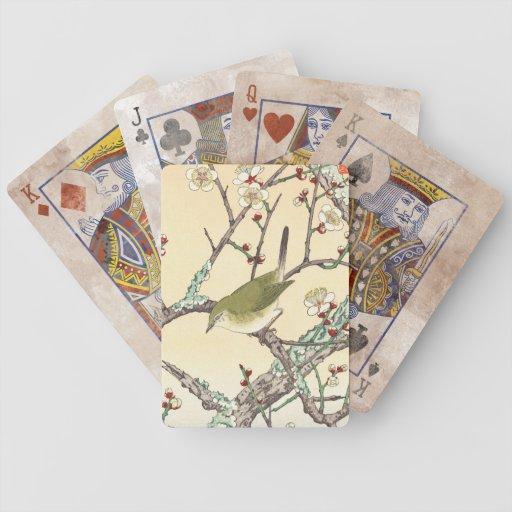Jo Bird on Plum Branch shin hanga japanese art Bicycle Card Deck