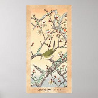 Jo Bird on Plum Branch shin hanga japanese art Poster