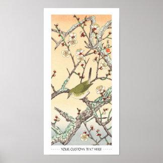 Jo Bird on Plum Branch shin hanga japanese art Print