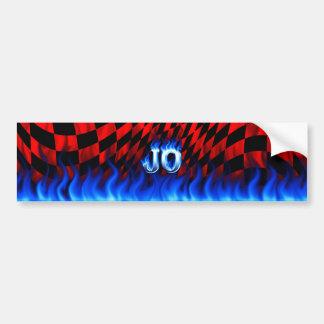 Jo blue fire and flames bumper sticker design.