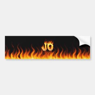 Jo real fire and flames bumper sticker design. car bumper sticker