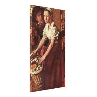 Joachim Beuckelaer - The eggs dealer Canvas Print