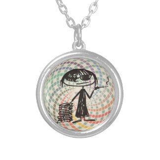 joan didion is my power animal w sacred geometry round pendant necklace