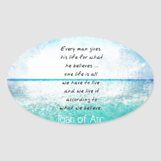 Joan of Arc COURAGE Quote Oval Sticker