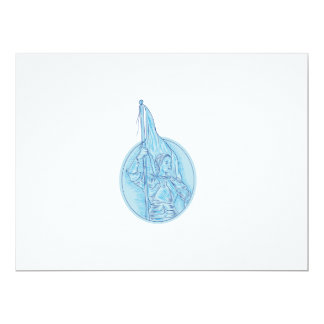 Joan of Arc Holding Flag Oval Drawing Card