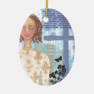 Joan of Arc.jpg Double-Sided Oval Ceramic Christmas Ornament