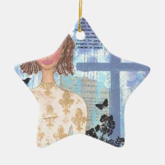 Joan of Arc.jpg Double-Sided Star Ceramic Christmas Ornament