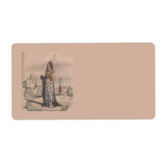 Joan of Arc Medieval French fashion costume Shipping Label