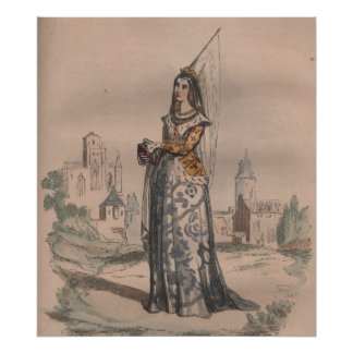 Joan of Arc Medieval French fashion costume Poster
