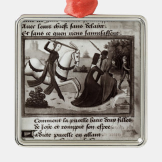 Joan of Arc Square Metal Christmas Ornament