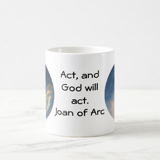 Joan of Arc Quote With Blue Sky Clouds Coffee Mug