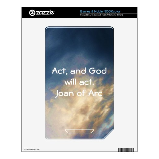 Joan of Arc Quote With Blue Sky Clouds NOOK Color Skin