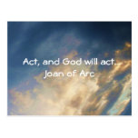 Joan of Arc Quote With Blue Sky Clouds Postcards
