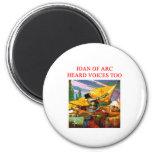 joan of arc voice psycho design 2 inch round magnet