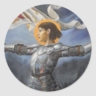 Joan of Arc with banner Classic Round Sticker