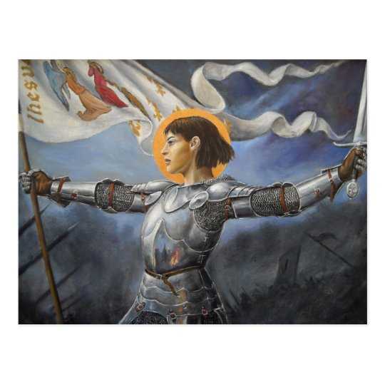 Joan of Arc with banner Postcard