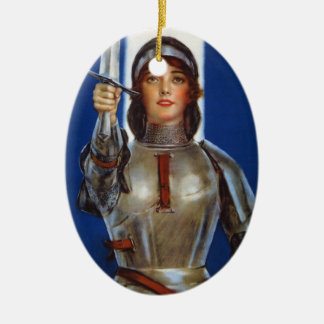 Joan of Arc World War I Buy War Saving Stamps Double-Sided Oval Ceramic Christmas Ornament