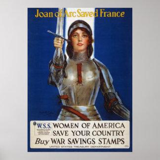 Joan of Arc World War I Buy War Saving Stamps Poster