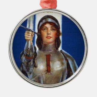 Joan of Arc World War I Buy War Saving Stamps Round Metal Christmas Ornament