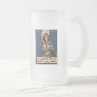 Joan Of Arc World War II Frosted Glass Beer Mug