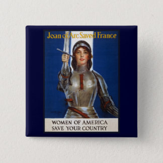 Joan of Arc WPA French American Feminism Ads Pinup Pinback Button