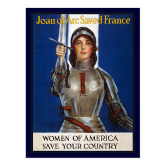 Joan of Arc WPA French American Feminism Ads Pinup Postcard