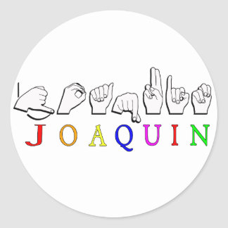 JOAQUIN FINGERSPELLED ASL NAME SIGN CLASSIC ROUND STICKER