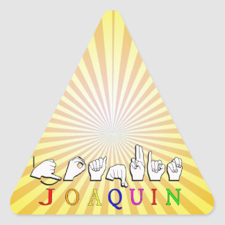 JOAQUIN FINGERSPELLED ASL NAME SIGN TRIANGLE STICKER