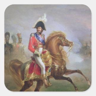 Joaquín Murat a caballo, 1814-15 Pegatina Cuadrada