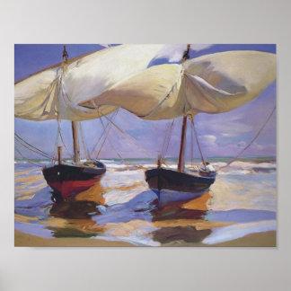 Joaquín Sorolla- Beached Boats Poster