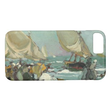 Beach Themed Joaquin Sorolla - Boats on the beach of Valencia iPhone 7 Case