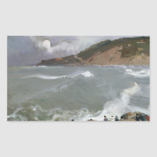 Joaquin Sorolla - Breakwater, San Sebastian Rectangular Sticker