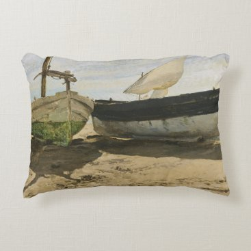 Beach Themed Joaquin Sorolla - Fishing boats on the beach Accent Pillow