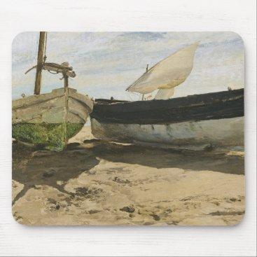 Beach Themed Joaquin Sorolla - Fishing boats on the beach Mouse Pad