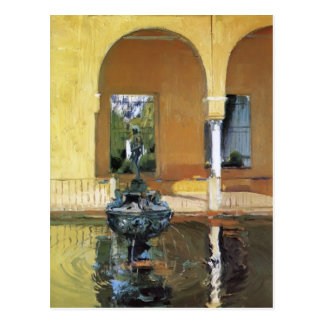 Joaquín Sorolla- Fountain in the Alcázof Seville Postcard