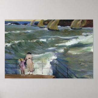 Joaquín Sorolla- las ondas en San Sebastián Impresiones