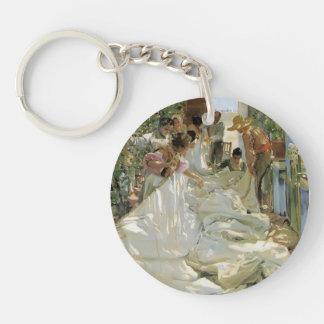 Joaquín Sorolla- Mending the Sail Single-Sided Round Acrylic Keychain
