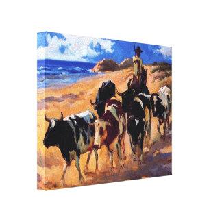 Joaquín Sorolla- Oxen at the Beach Canvas Prints