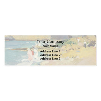 Joaquín Sorolla-Rocks and the Lighthouse, Biarritz Double-Sided Mini Business Cards (Pack Of 20)