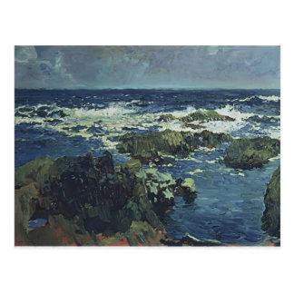 Joaquín Sorolla- Sea and rocks in San Esteban Postcard