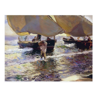 Joaquín Sorolla- The arrival of the boats Postcard