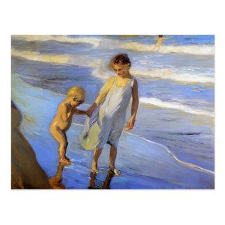 Joaquín Sorolla- Valencia, LIttle Girls on a Beach Postcard