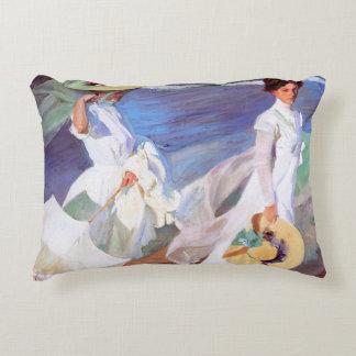 Joaquin Sorolla Women Walking on Beach Fine Art Accent Pillow
