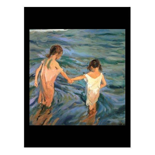Joaquín Sorolla y Bastida Children in the Sea Postcards