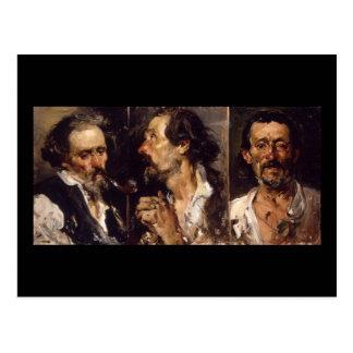 Joaquín Sorolla y Bastida Three head studies Postcard