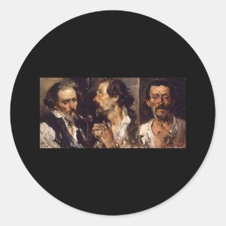 Joaquín Sorolla y Bastida Three head studies Sticker