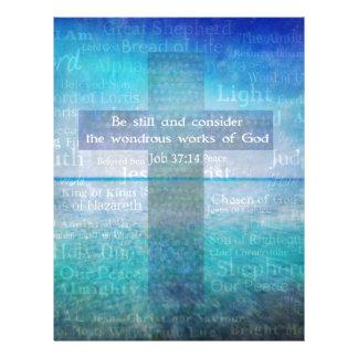 Job 37:14 Bible Verse Christian theme Letterhead